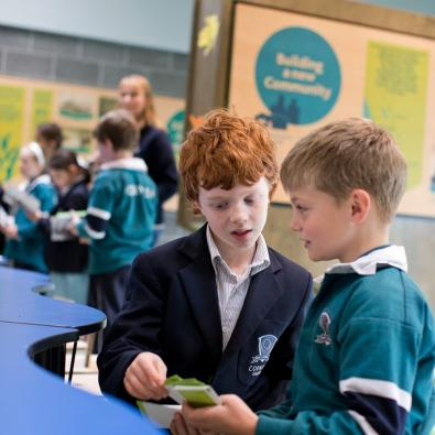 School children look at cards inside the Edithvale-Seaford Wetland Education Centre