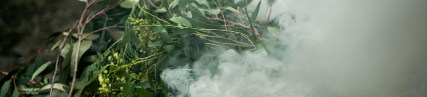 Smoke and leaves as part of traditional smoking ceremony