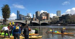 Kayaks on the Yarra for August's Yarra River Blitz