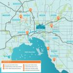 This is a map of Melbourne Water's sewer rehabilitation projects